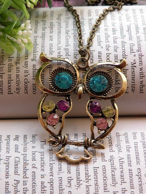 On sales now Pretty retro copper colorful blue eyes owl necklace pendant vintage style