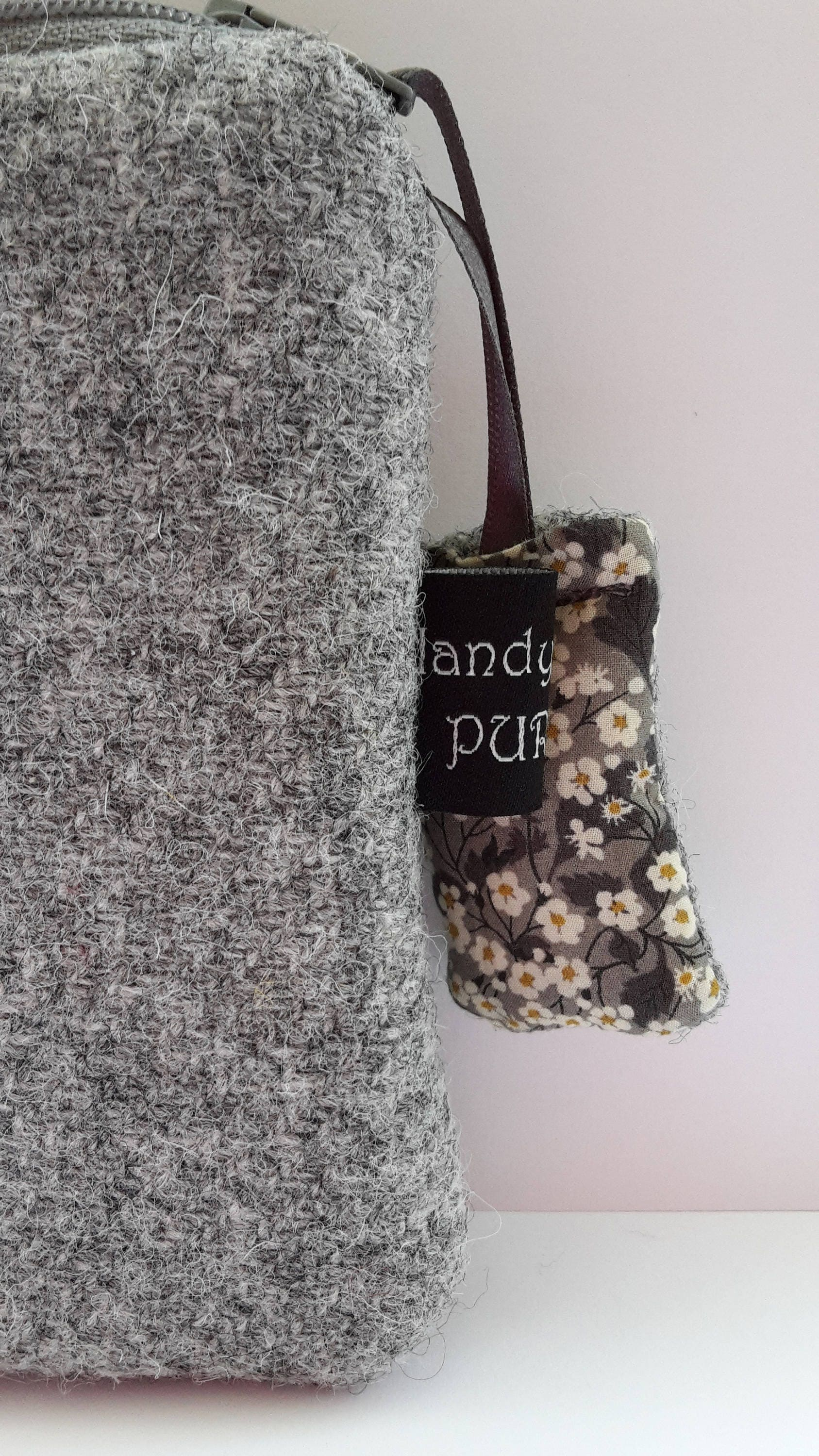Harris Tweed Gray Purse with Liberty of London Mitsi Valeria Print Fabric Lining