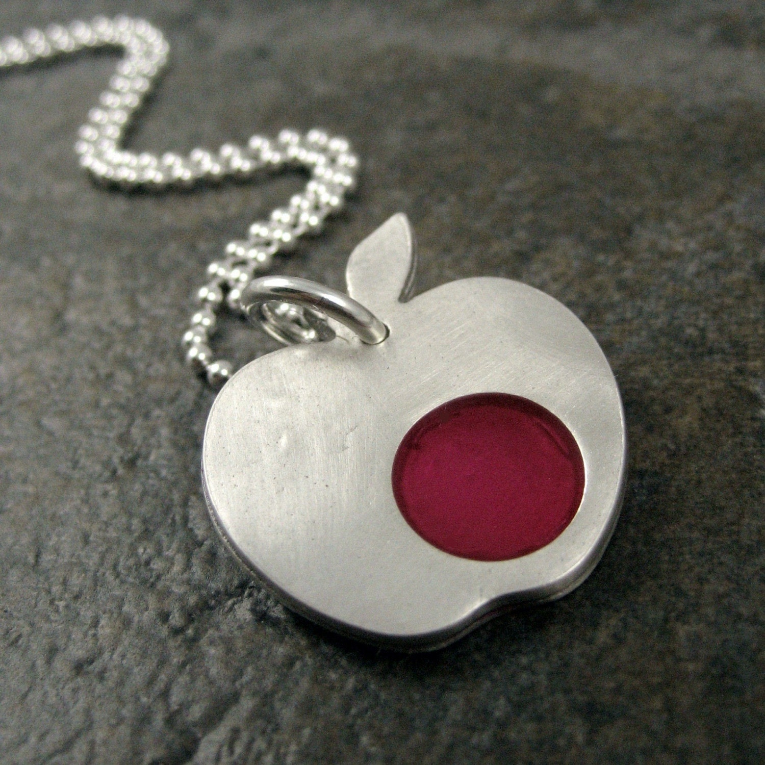 Apple Necklace in Fine Silver and Ruby Resin
