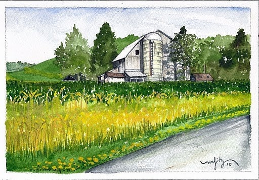 Mex's Farm, Fryburg, PA (Watercolor and ink)