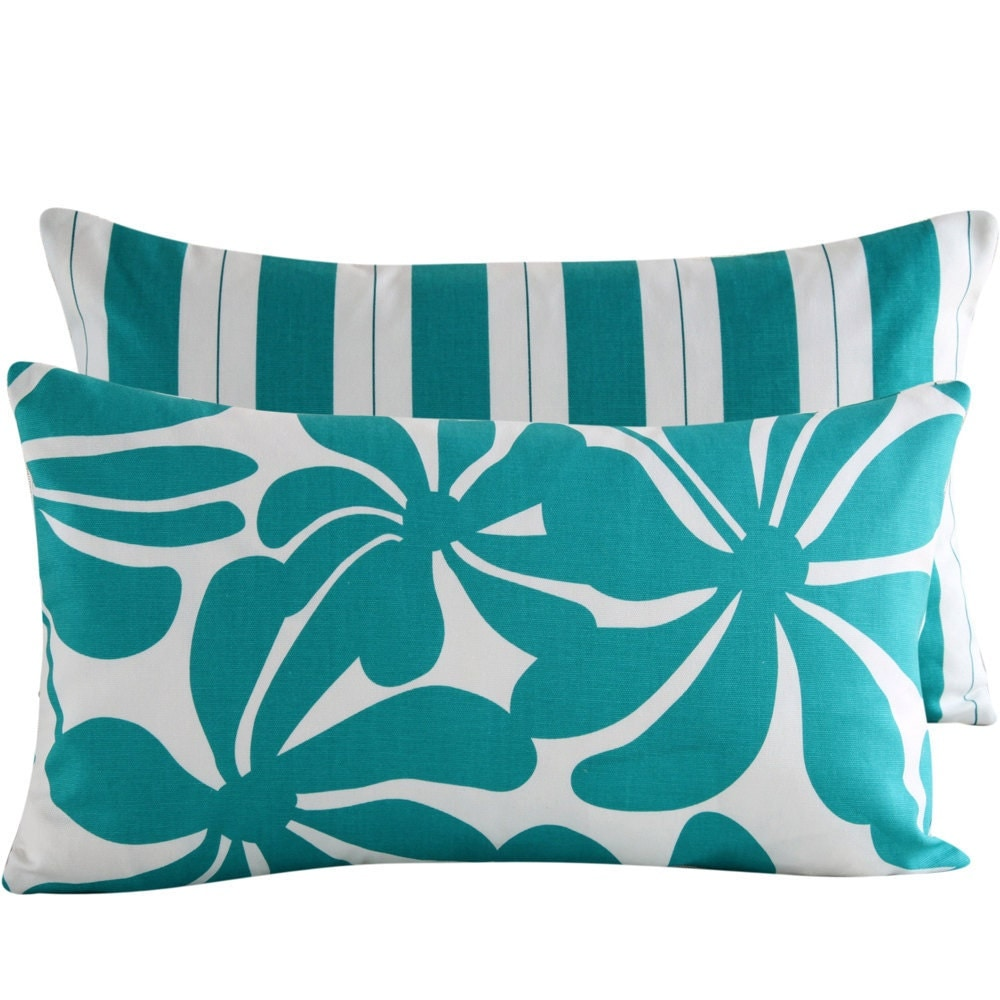 12x20 Lumbar Pillow Cover . Twirlies of Turquoise
