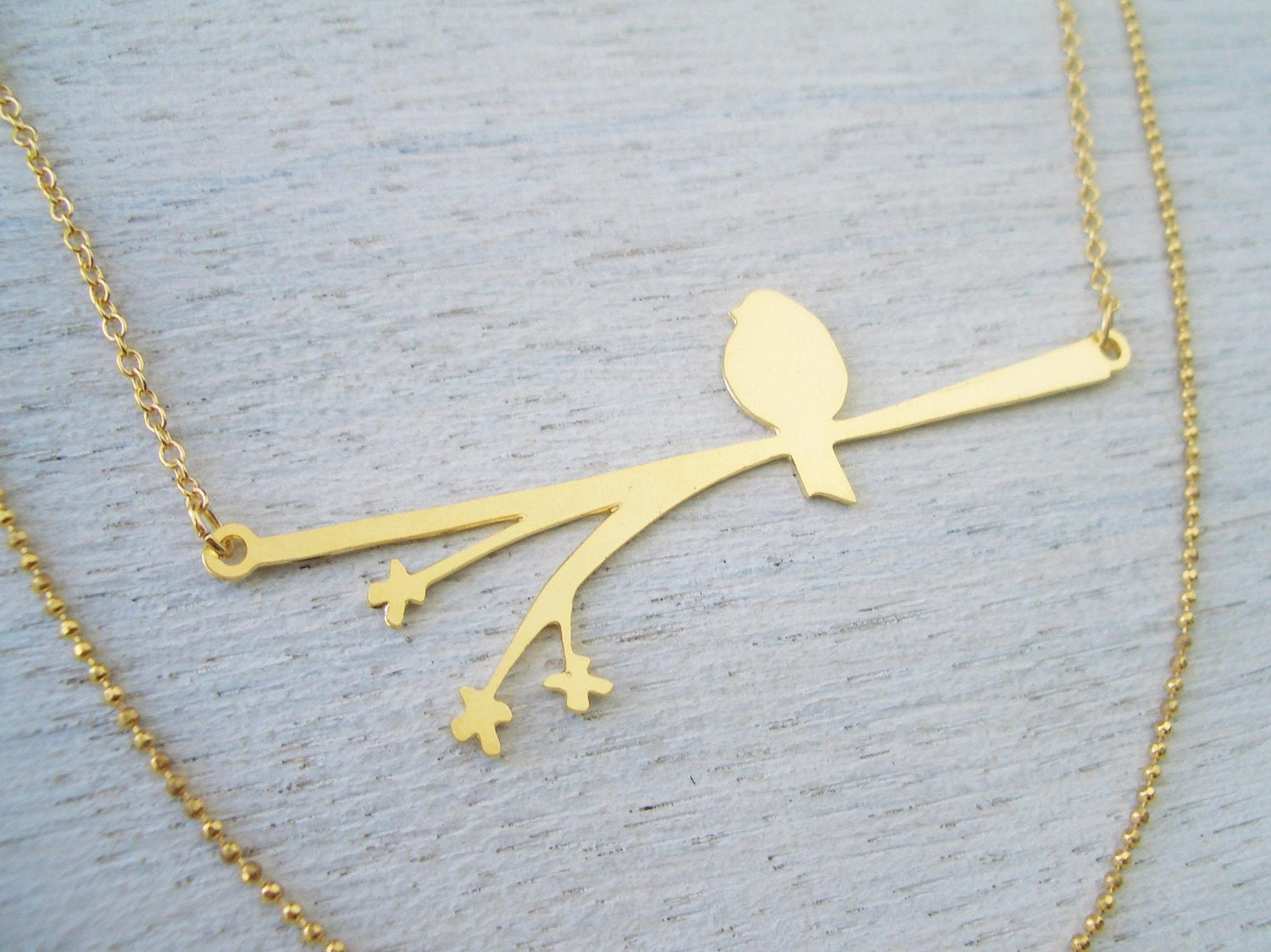 Bird on a Blooming Branch Necklace in Matte Gold - Mother's Day Sale