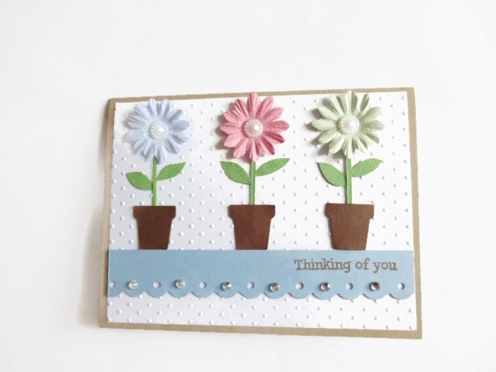 Thinking of You Card Pastel Flowers Card - lilaccottagecards
