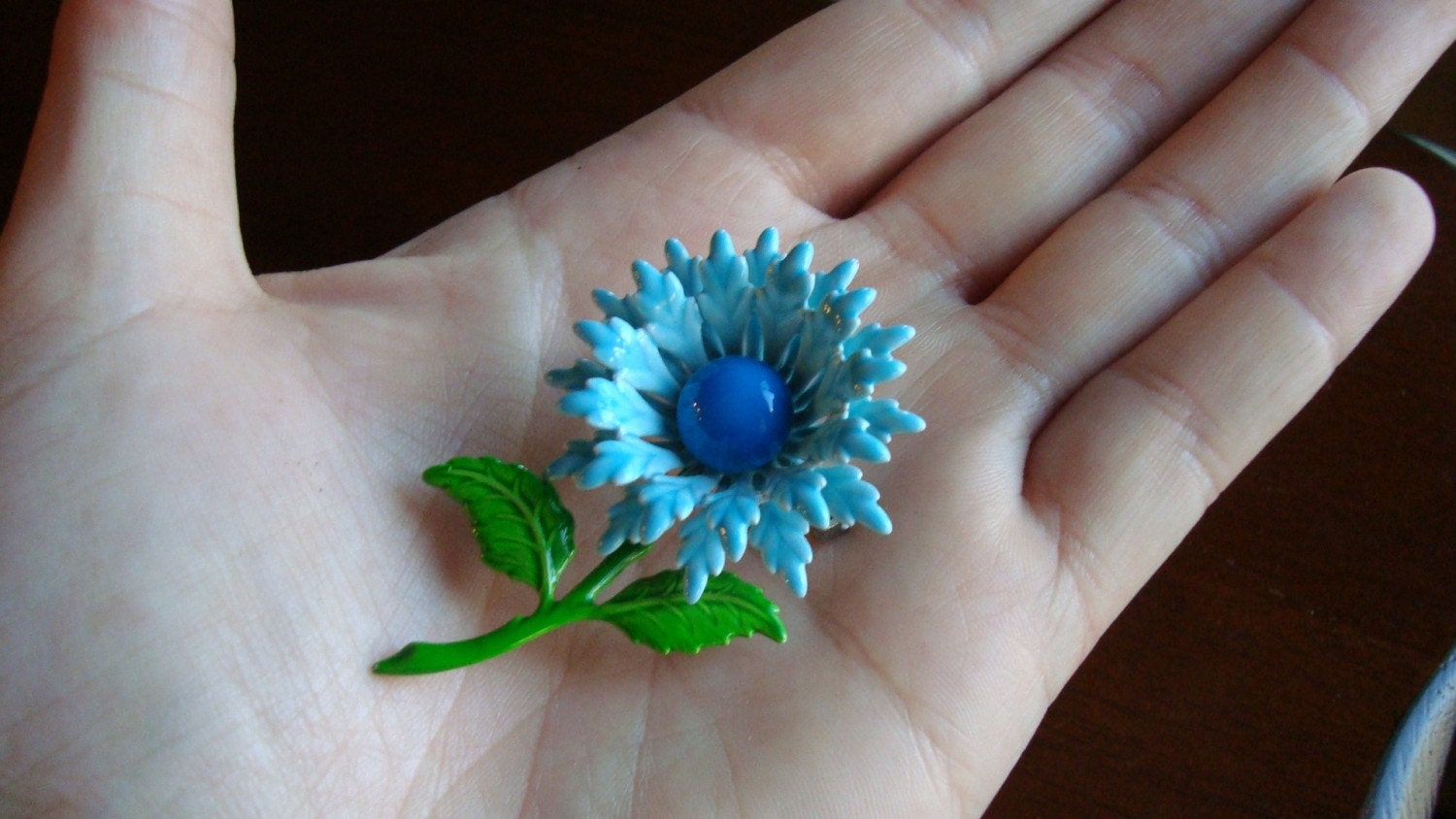 Vintage Sing the Blues Flower Pin