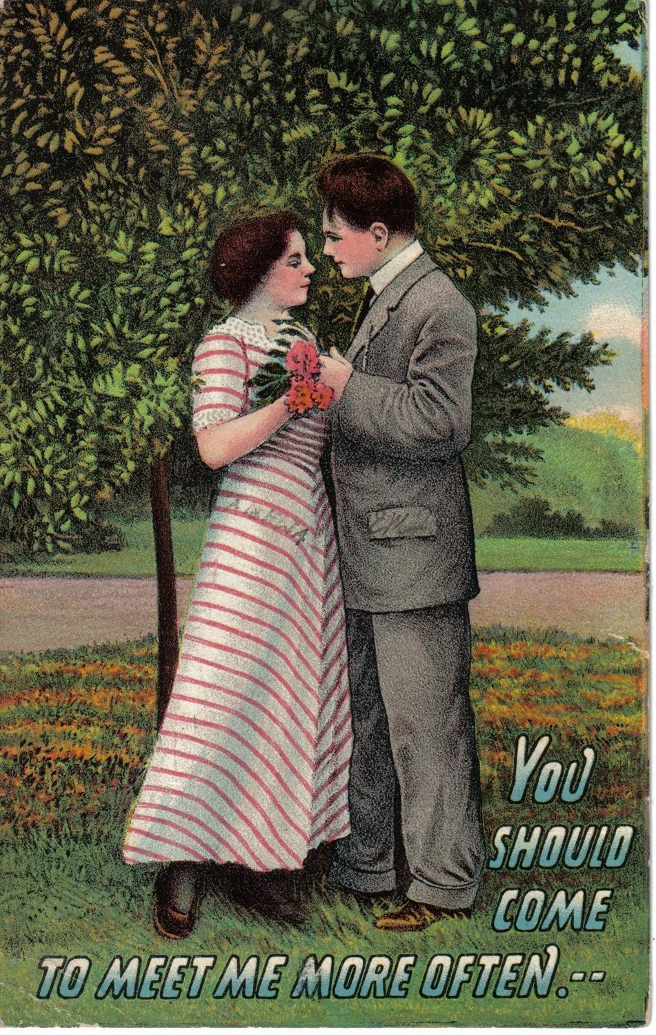 Lovers in Love Under a Tree Postcard