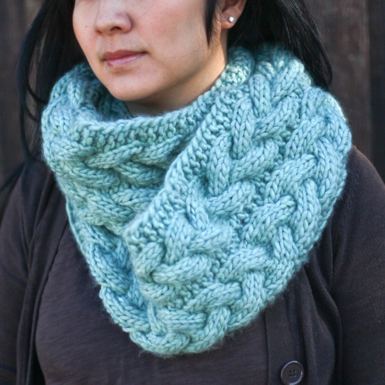 Cable Knit Infinity Scarf Pattern : Items similar to Cable Knit Infinity Scarf - Baby Blue on Etsy
