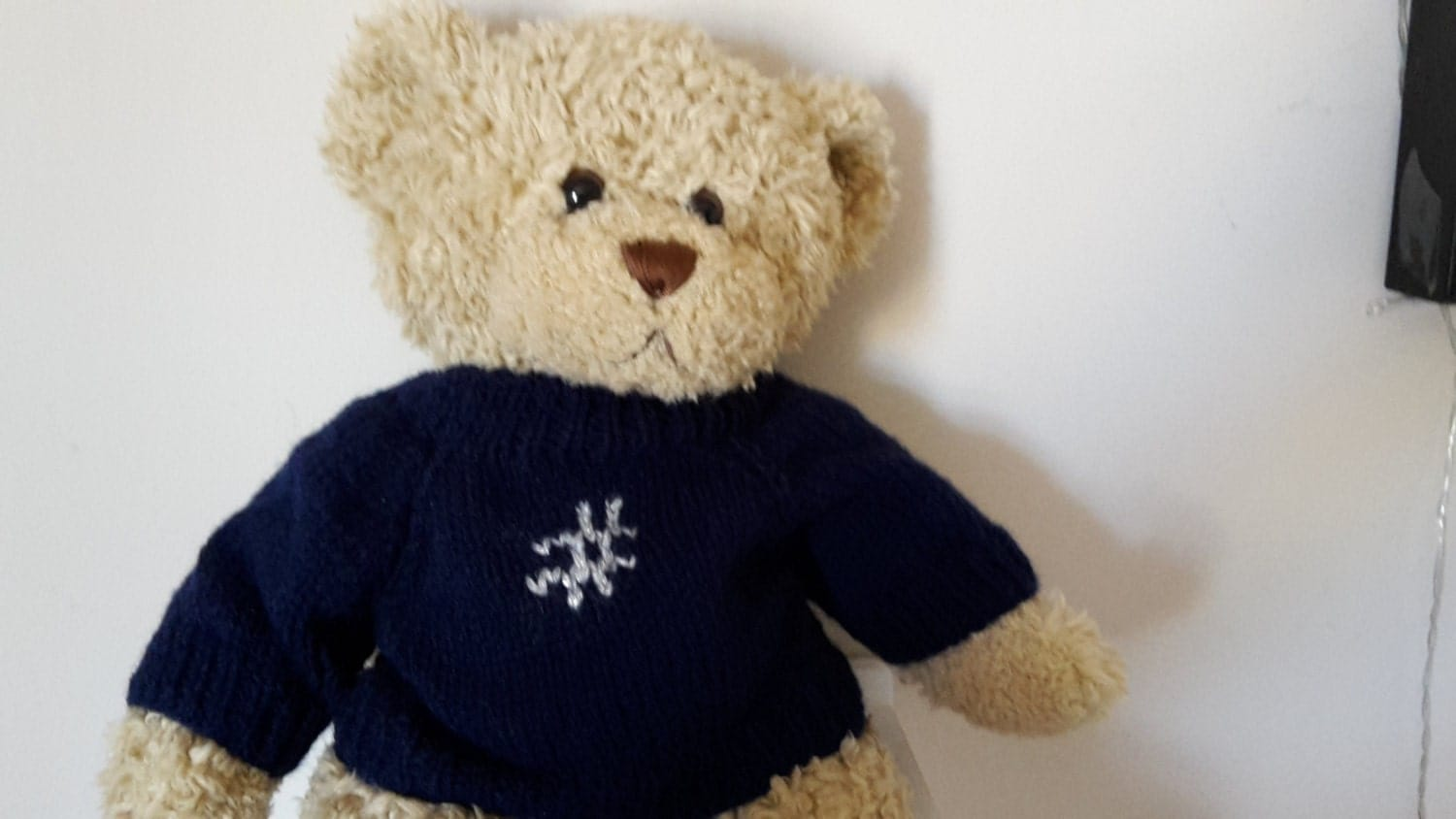 Teddy Bear Sweater  Hand knitted  Navy Blue with Hashtag motif