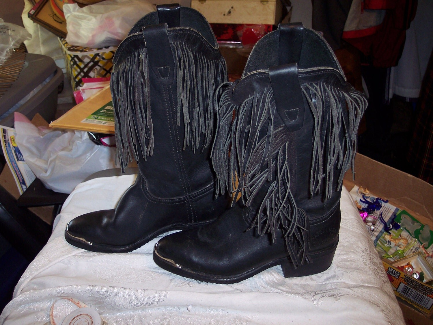 Vintage Georgia   black leather fringe western Riding cowboy  boots size  6