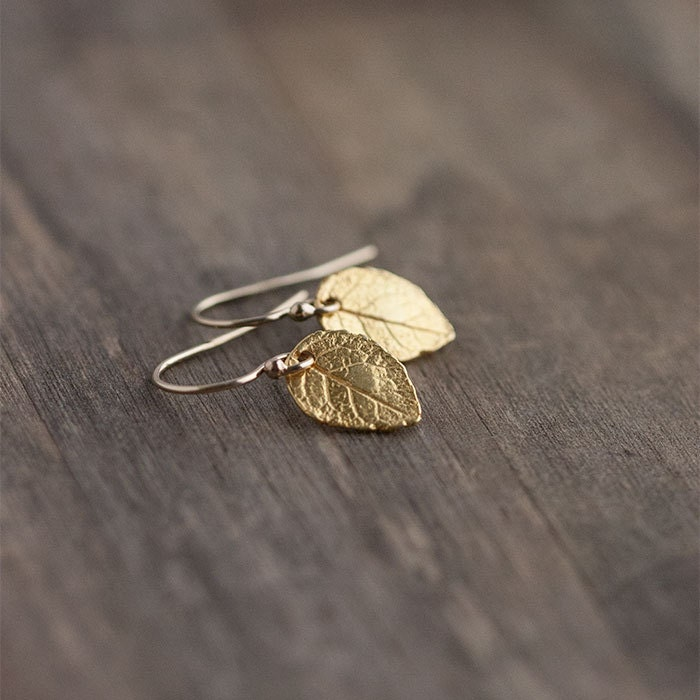 Tiny Gold Leaf Earrings / Mini Leaves in 24K Gold Vermeil and 14K Gold Filled - burnish