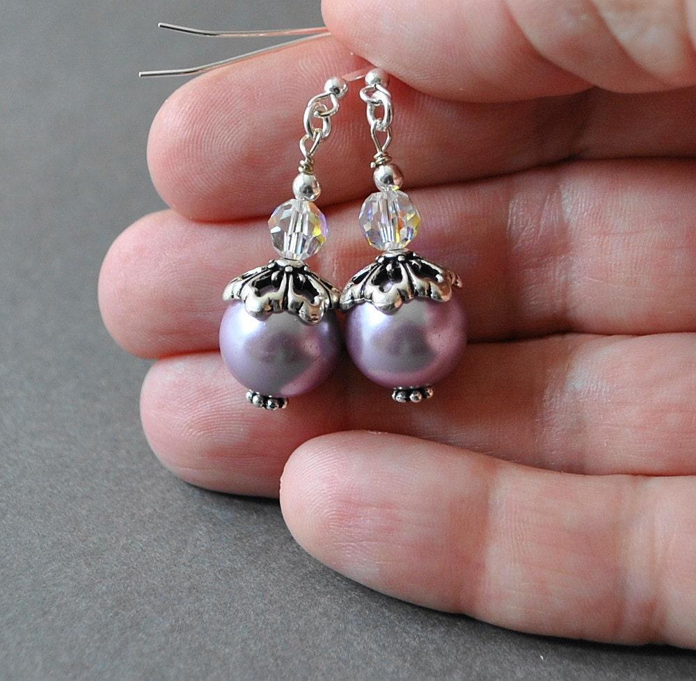 Purple Pearl Earrings, Sterling Silver Drop Earrings, Pearl and Crystal Earrings, Dangle Earrings, Handmade Sterling Silver Jewelry