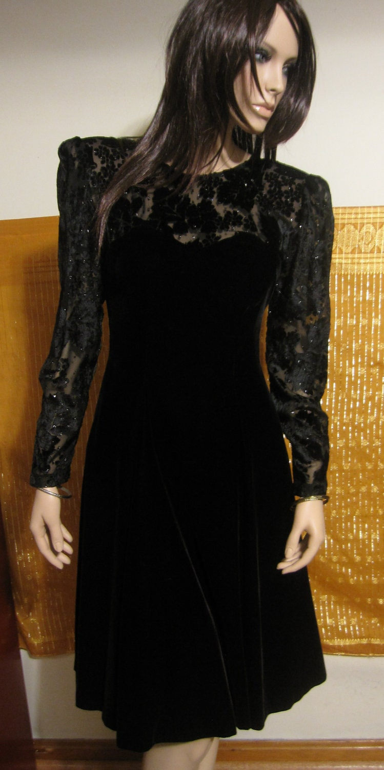black vintage 1980s dress with glitter and burnout velvet
