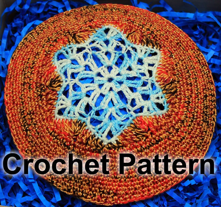 Crochet Yarmulke Patterns : Star of David Kippah Crochet Pattern by gsager on Etsy