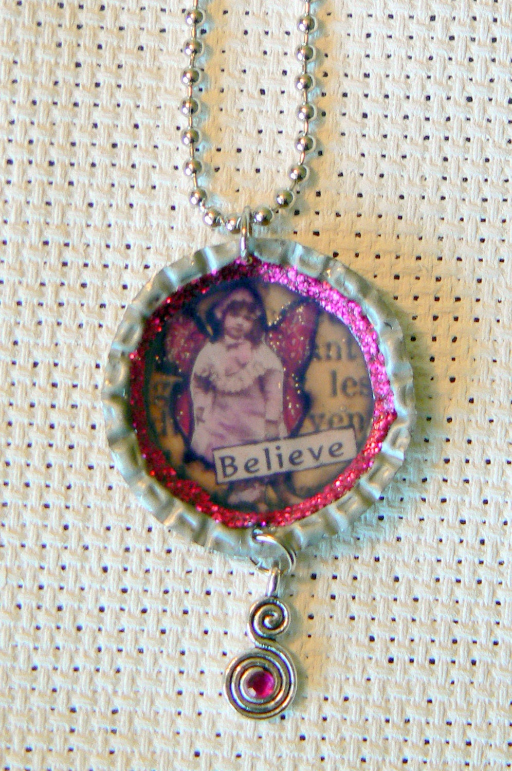 Altered Collaged Bottle Cap Necklace - BELIEVE - Tiny Faerie