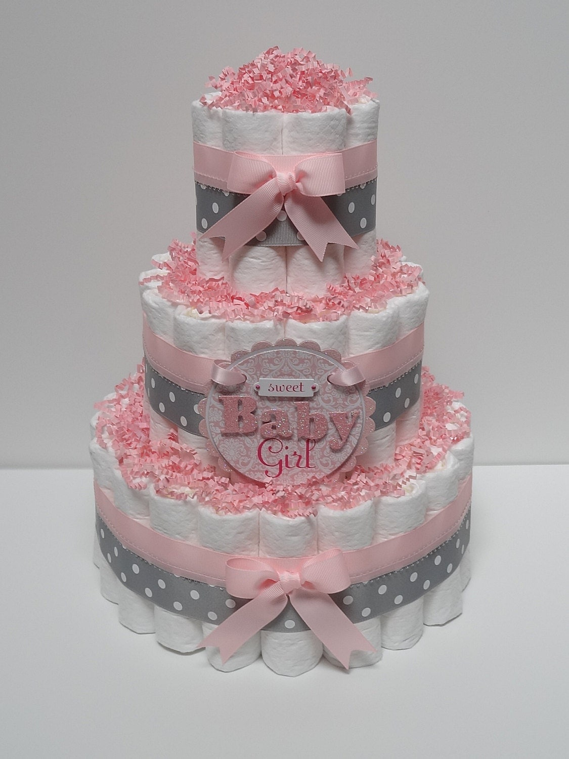 Baby Shower Diaper Cake Images : Baby Girl Pink And Gray Diaper Cake Baby by ...