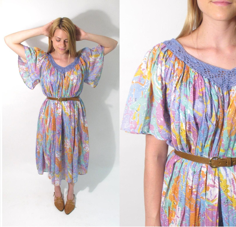 Vintage 1970s-80s Sheer Cotton Flowy Oversize Dress with Crochet V-Neckline.