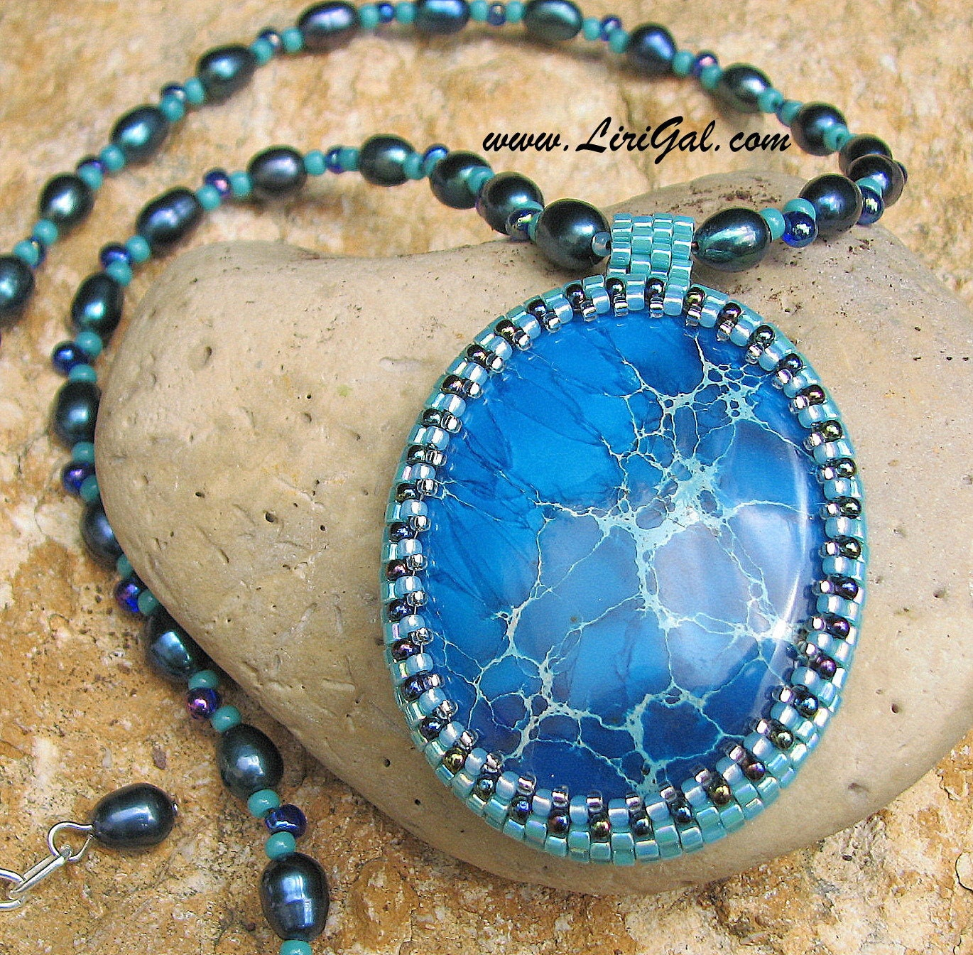Blue Sea. Blue Sea Sediment Jasper Beaded Cabochon Pendant