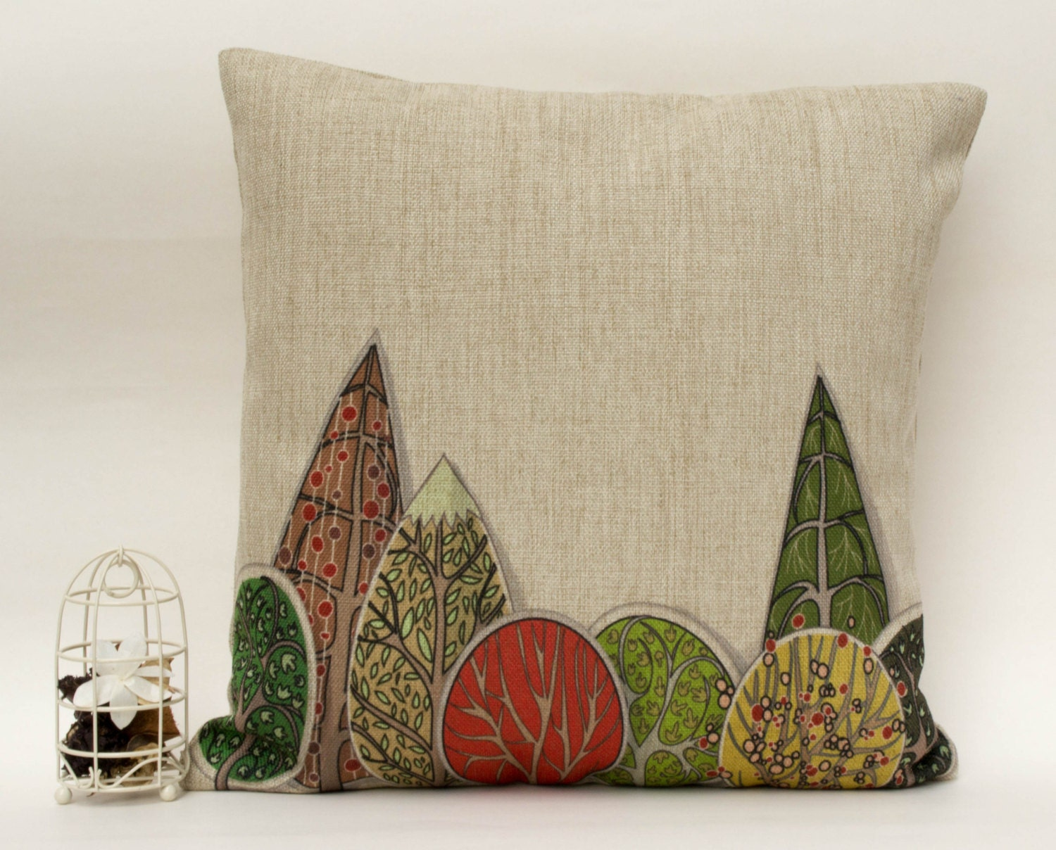 "Cotton linen colorful forest decorative throw pillow case/ cushion cover 16""-18"" - leleehomy"