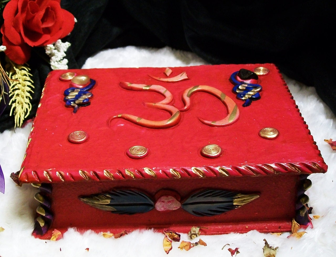 OM Altar Tarot Box Wood and Polymer Clay