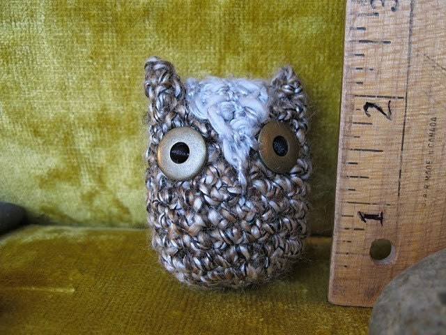 Small Brown and Gray Owl with Simple Brassy Eyes. Handmade, Crocheted.