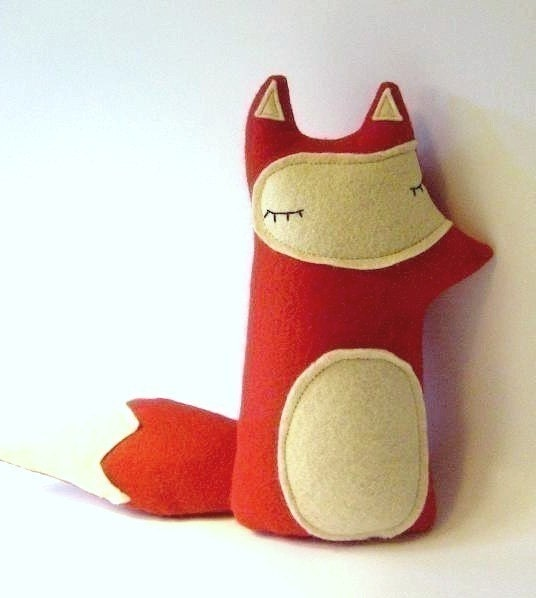Sleepy Red Forest Fox Plush - Made to order