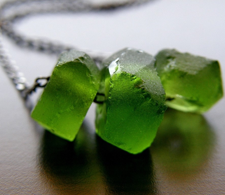 Green Recycled Glass Necklace - Forest- Free Shipping Etsy