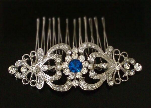 Art Nouveau Sapphire Blue Swarovski Crystal Rhinestones Hair Comb - wedding hair accessory, bridal hair comb - Something Blue