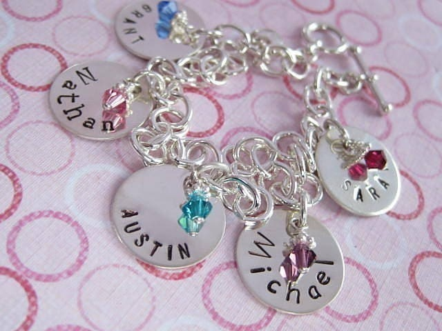 BRAG Bracelet with Birthstones - Personalized Hand Stamped Sterling Silver Custom Charm Bracelet