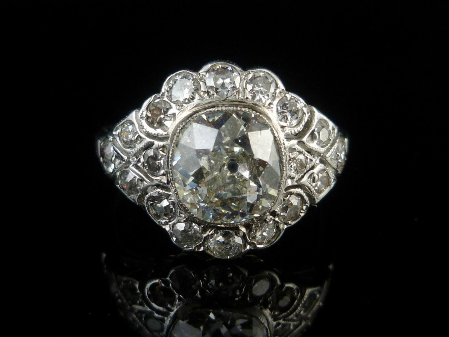 Antique Engagement Ring 3.26ct Old Cut Diamond 18ct White Gold Cluster Ring