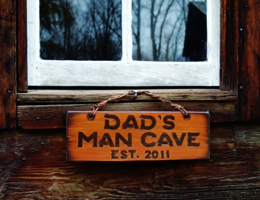 Handmade Man Cave Signs : Items similar to dad s man cave signs custom wood burned