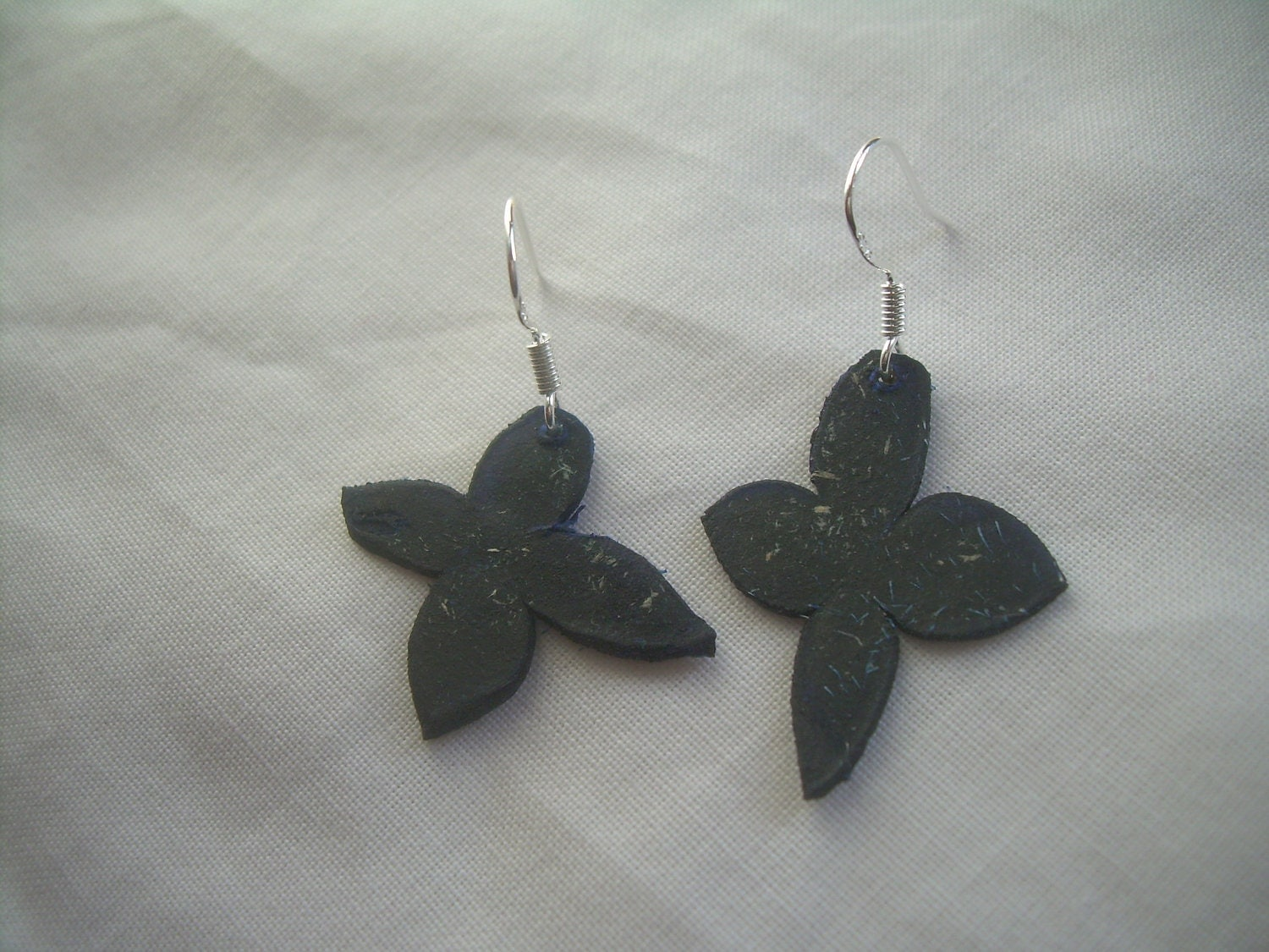 Earrings made with genuine DEER parchment on deep blue