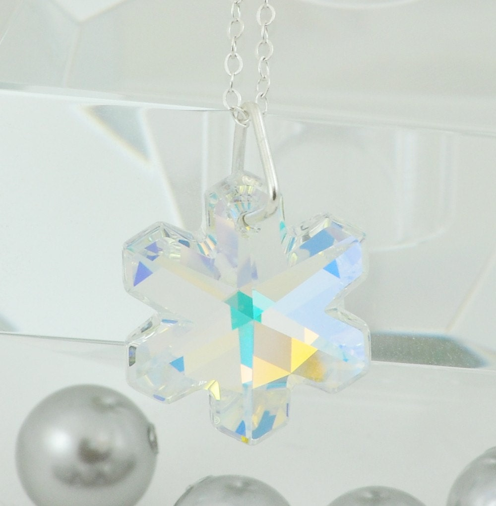 Colorful Snowflake Necklace - Swarovski Crystal - Sterling Silver