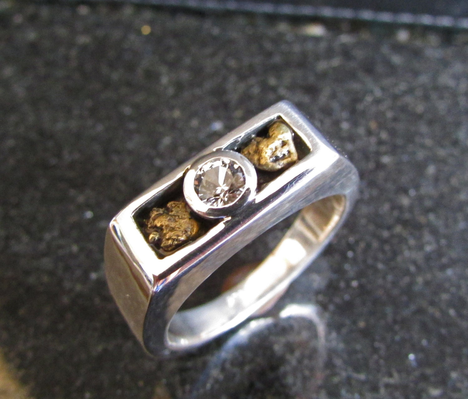 gold nugget mens wedding ring white sapphire by