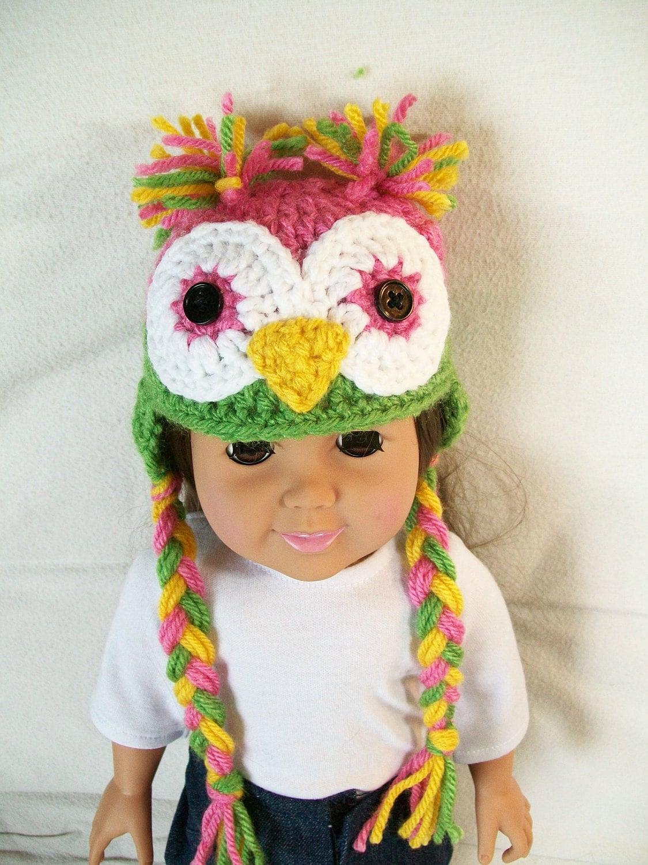 Items similar to Crochet Owl Doll Hat - 18