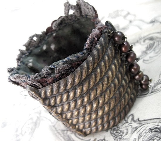 I am a Mask of Divinity. Salvaged Textile Cuff.
