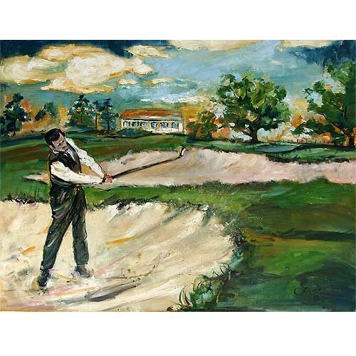 2 Paintings Bobby Jones Swing Golf Painting Large Oil and Tiger Woods by Ginette Callaway