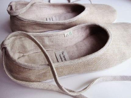 Chic Ballerina Flats - Linen in Beige