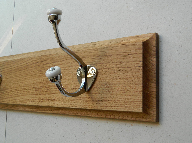 Coat hooks  coat rack  Oak coat hanging rail