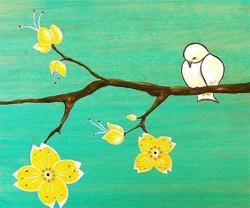 Yellow Cherry Blossoms and Chickadee--8x10