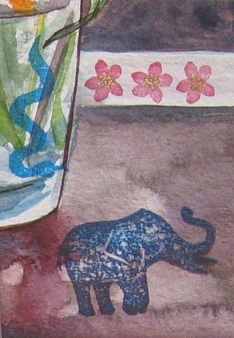 ACEO - Tiny elephant being stalked by giant blue snake/Snake Surprise