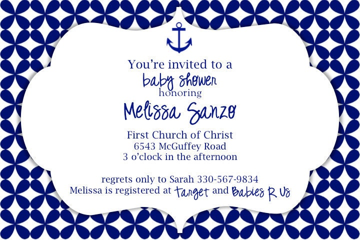 custom baby shower invitation nautical theme anchor whale on etsy