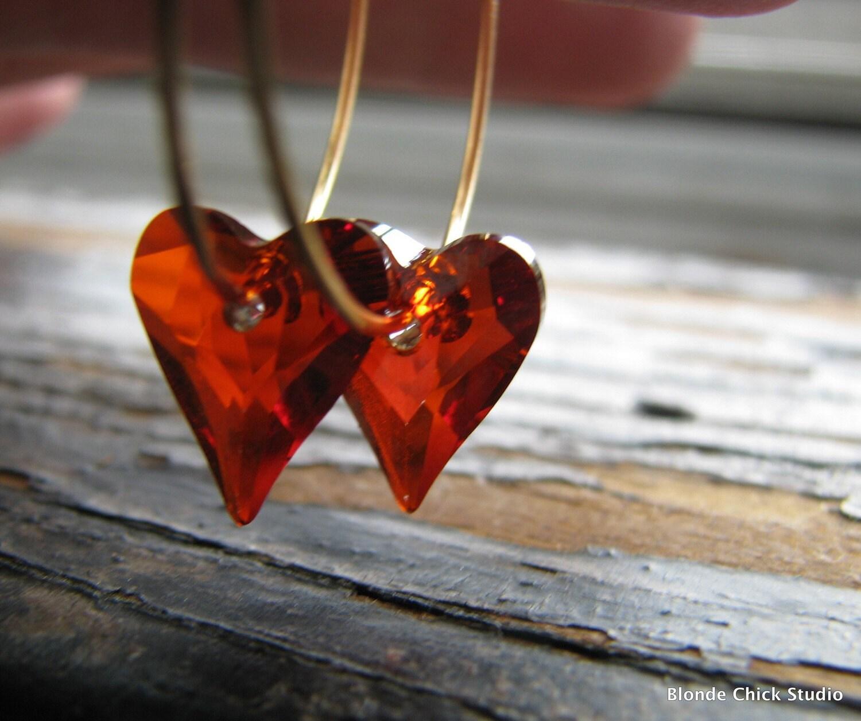 SWEETHEART-Red Magma Swarovski Crystal Heart Hoop Earrings