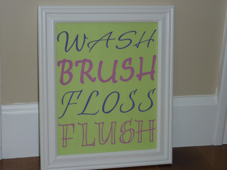 Whimsical Bathroom Wall Decor : Wash brush floss flush bathroom wall by sweetthingexpression