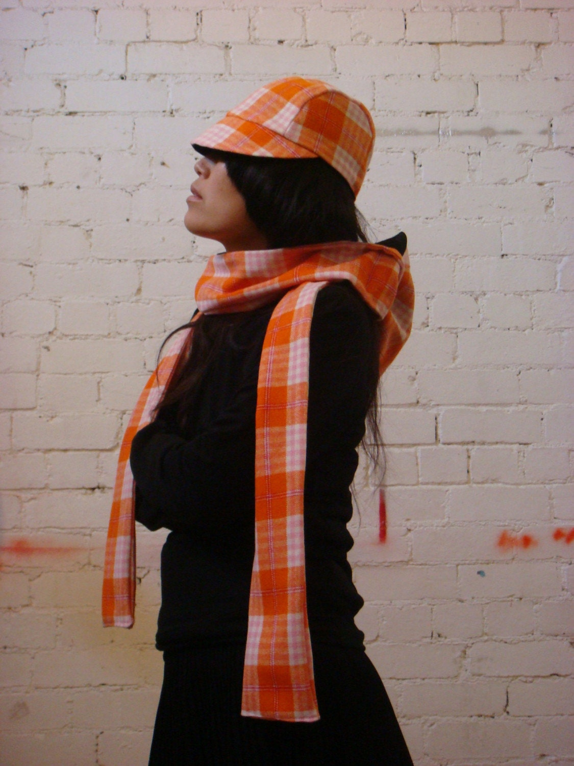 Reversible Black/ Orange, Pink, White Check Hat - FREE SHIPPING WORLDWIDE - FREE GIFT - BESTSELLER