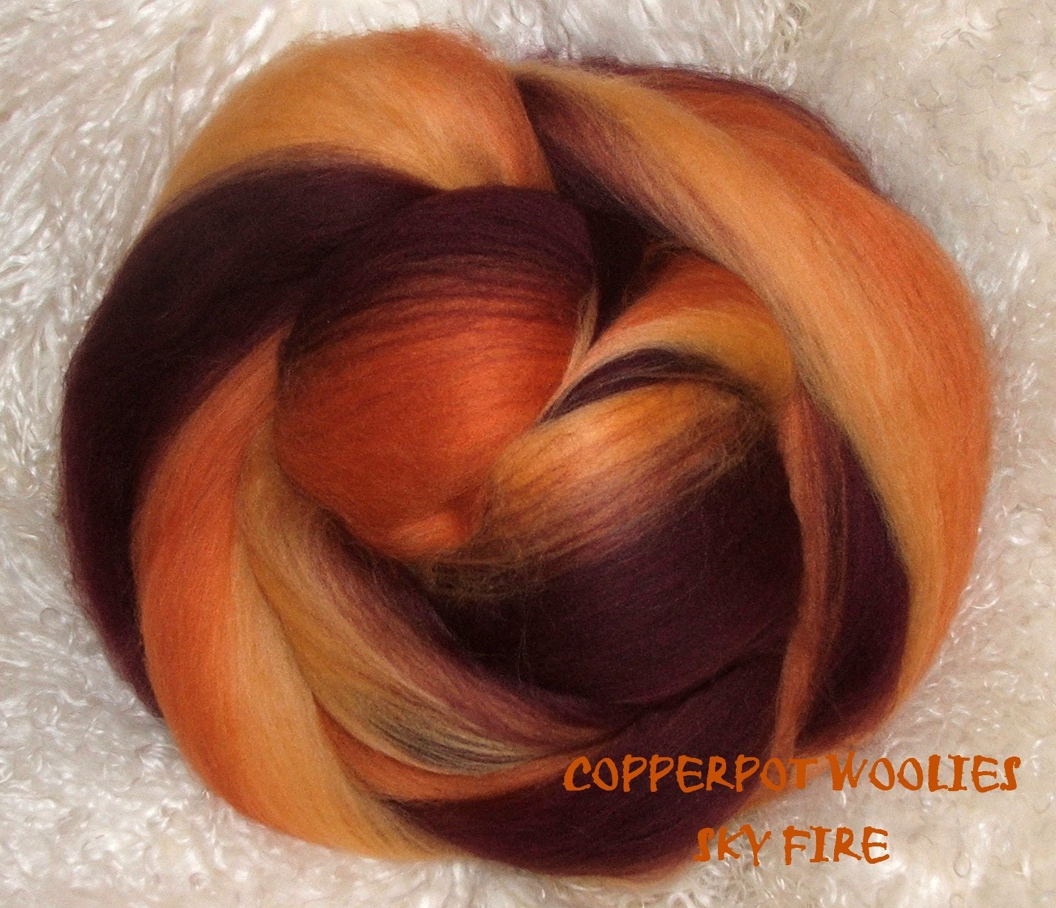 Sky Fire Merino/Colonial fibre from Copperpot at Etsy