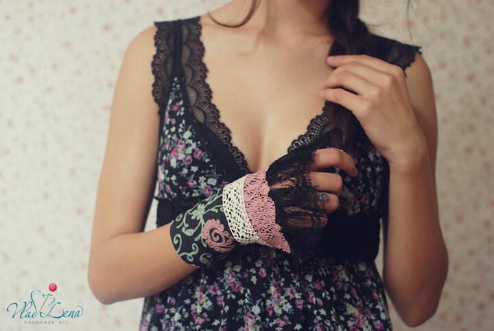 Ищете НЕЖНОСТЬ - 4 викторианской Vintage манжеты Браслеты Романтический кружевной ткани