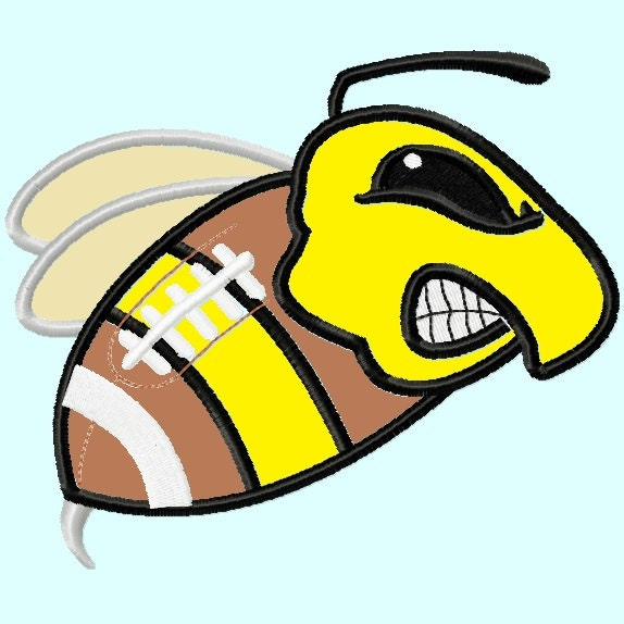 Hornet Mascot on Football Applique Embroidery by ...