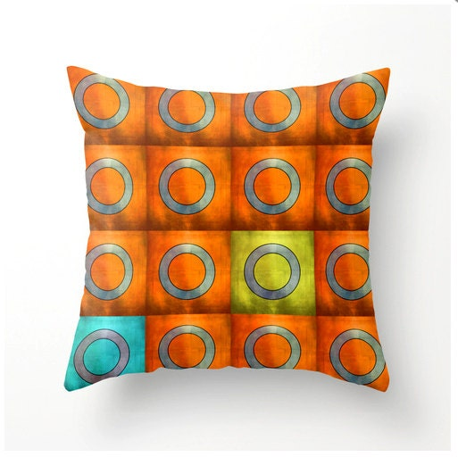 Red And Orange Decorative Pillows : Orange Red Geometric Design Decorative Throw Pillow by BonnieBruno