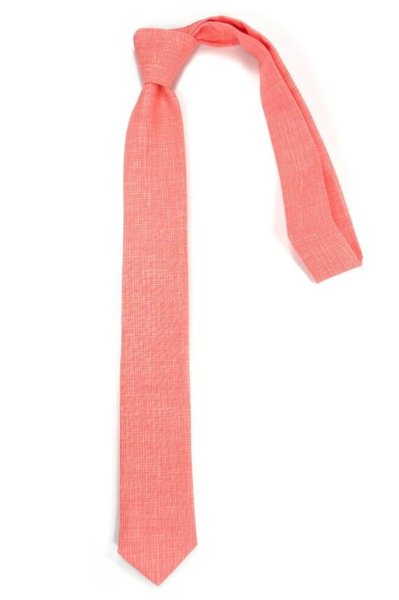 Coral  necktie - Wedding Mens Tie Skinny Necktie Vicente Minnelli - Laid-Back necktie - speaklouder