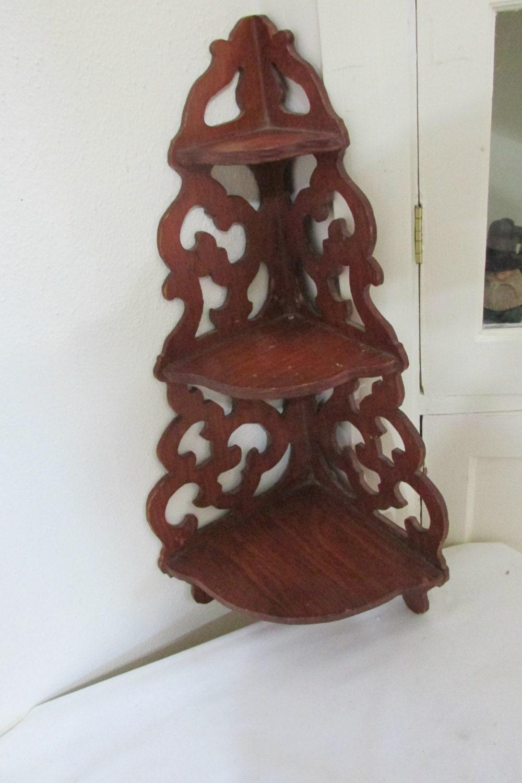 Vintage Corner Shelf Wood 3 Tier Scroll Work By Luruuniques