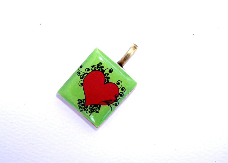 Red Heart  Design Scrabble Tile Pendant Necklace Lime Green - Videnda